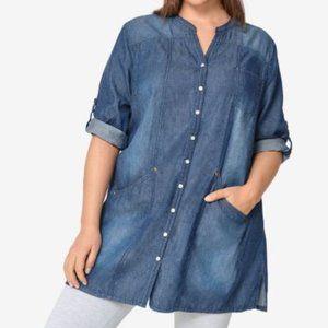 Ellos Womens Tunic Denim Top Plus Size 18/20 Large
